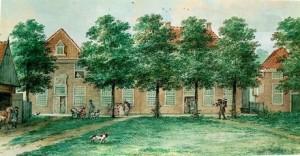 Zicht op de Stiftshuizen. Aquarel van Aart Schouwman (1769).