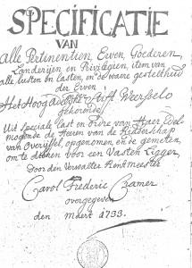 Ligger van 't Stift jaar 1733