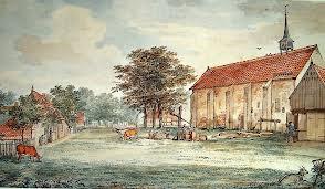 Aquarel van Aart Schouman uit 1769 met de Stiftskerk.